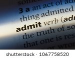 Small photo of admit word in a dictionary. admit concept.