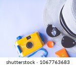 flat lay view of summer and... | Shutterstock . vector #1067763683