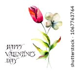 stylized tulips flowers with... | Shutterstock . vector #1067763764