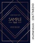 geometric rose gold design... | Shutterstock .eps vector #1067768243