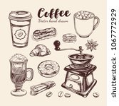coffee and coffee to go set.... | Shutterstock .eps vector #1067772929