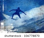 Surf Vintage Poster With Rider...