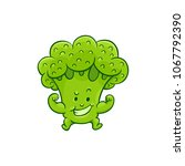 cheerful broccoli character... | Shutterstock .eps vector #1067792390