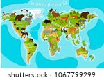 vector map of animals on a blue ... | Shutterstock .eps vector #1067799299