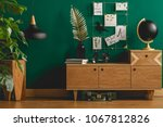 dark green apartment interior... | Shutterstock . vector #1067812826