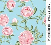 seamless pattern of pink peony... | Shutterstock .eps vector #1067816060