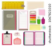 different notebooks  notes ... | Shutterstock . vector #1067821010
