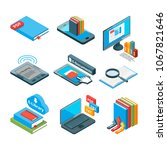 isometric icons of electronic... | Shutterstock . vector #1067821646