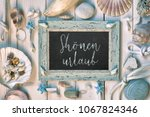 blackboard with maritime... | Shutterstock . vector #1067824346