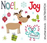 cute christmas sets with... | Shutterstock .eps vector #1067843924
