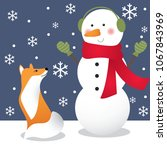 cute fox and snowman | Shutterstock .eps vector #1067843969
