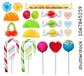 different sweets and candies... | Shutterstock . vector #1067845259