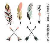 set of tribal feathers isolated ...   Shutterstock .eps vector #1067845550