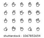 vector set of gesture icons in... | Shutterstock .eps vector #1067852654