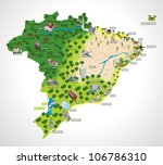 map of brazil with all capitals.... | Shutterstock .eps vector #106786310