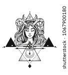 demon girl graphic | Shutterstock . vector #1067900180