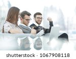 close up.business colleagues in ... | Shutterstock . vector #1067908118