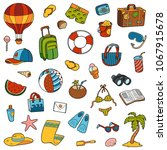 colorful set of summer objects  ... | Shutterstock .eps vector #1067915678