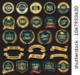 golden sale badges and labels... | Shutterstock .eps vector #1067933630