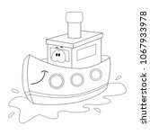 colorless  funny cartoon ship.... | Shutterstock .eps vector #1067933978
