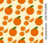 seamless orange on summer tone... | Shutterstock .eps vector #1067941850