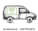 delivery truck hand drawn ... | Shutterstock .eps vector #1067942873