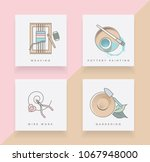 set of four line icons... | Shutterstock .eps vector #1067948000