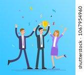 business team winning golden... | Shutterstock .eps vector #1067954960