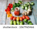 vegetables on an old wooden... | Shutterstock . vector #1067965466