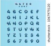 water font set vector template... | Shutterstock .eps vector #1067975120
