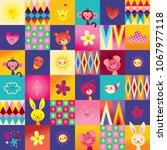cute baby animals kids pattern | Shutterstock .eps vector #1067977118