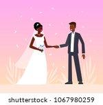 african american wedding. cute... | Shutterstock .eps vector #1067980259