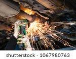 repairing of corrugation... | Shutterstock . vector #1067980763