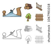 logs in a stack  plane  tree ...   Shutterstock .eps vector #1067981018