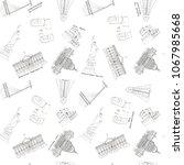 hand drawn architecture sketch... | Shutterstock . vector #1067985668