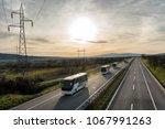 Caravan Or Convoy Of Busses In...