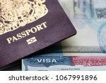 Close Up Of A Visa Document An...