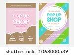 pop up shop vector flyer....   Shutterstock .eps vector #1068000539