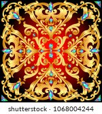 background with gold floral... | Shutterstock .eps vector #1068004244