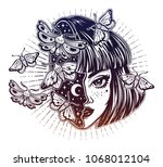 portriat of the magic surreal... | Shutterstock .eps vector #1068012104