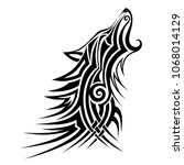 tribal howling wolf tattoo... | Shutterstock .eps vector #1068014129