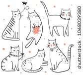 cute funny cats vector set. pet ... | Shutterstock .eps vector #1068039380