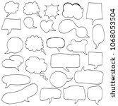 set of speech bubble hand drawn ... | Shutterstock .eps vector #1068053504
