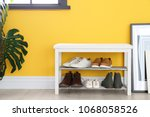 collection of stylish shoes on... | Shutterstock . vector #1068058526