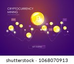 mining bitcoin and ethereum... | Shutterstock .eps vector #1068070913