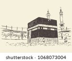 holy kaaba in mecca saudi... | Shutterstock .eps vector #1068073004