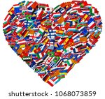 flags of world countries and in ... | Shutterstock . vector #1068073859