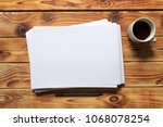 white business card on wooden... | Shutterstock . vector #1068078254