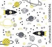 trendy kids hand drawn seamless ... | Shutterstock .eps vector #1068088046