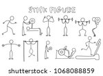 set of stick figure sportsmans. ... | Shutterstock .eps vector #1068088859